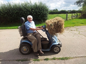 80-year-old farmer Robert Maude continues to uniquely manage and maintain his Shropshire farm thanks to a TGA mobility scooter